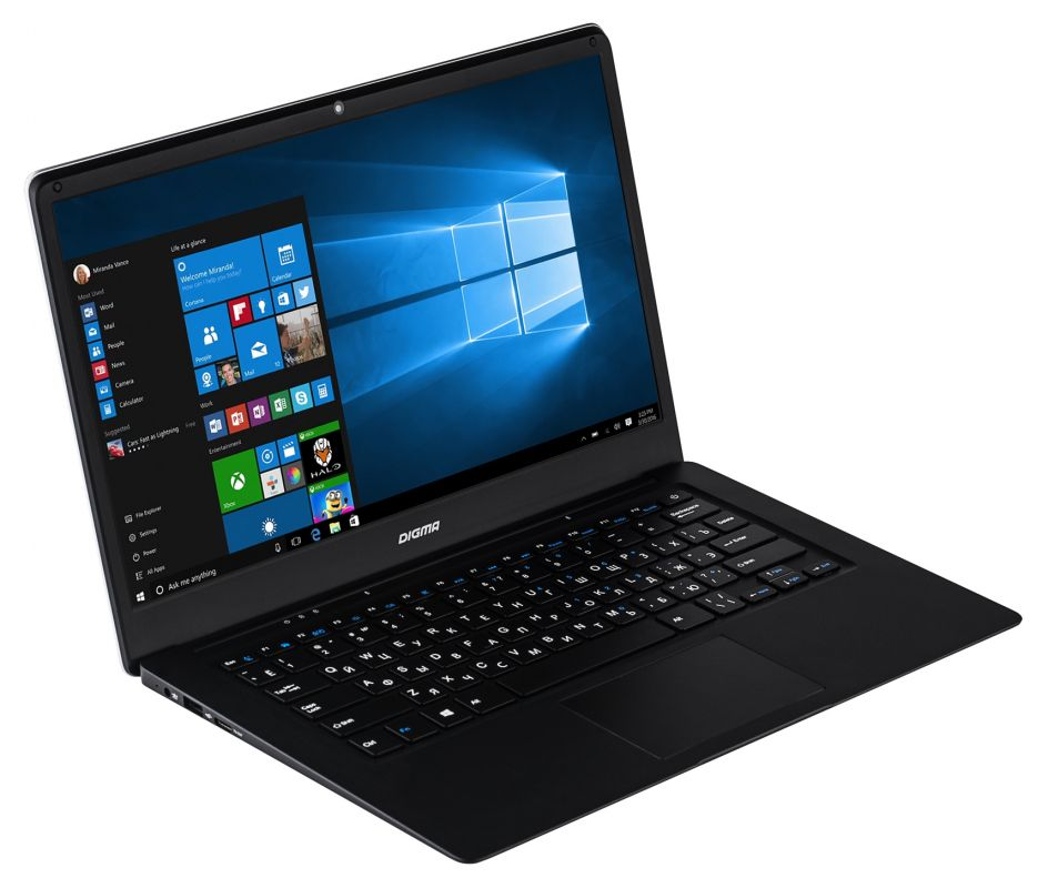 "Ноутбук Digma EVE 1401 Atom X5 Z8350/2Gb/SSD32Gb/Intel HD Graphics 400/14.1""/TN/HD (1366x768)/Windows 10 Home Multi Language 64/black/silver/WiFi/BT/Cam/8000mAh"