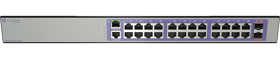 Коммутатор Extreme 220-Series 24 port 10/100/1000BASE-T PoE+, 2 10GbE unpopulated SFP+ ports, 1 Fixed AC PSU, 1 RPS port, L2 Switching with RIP and Static Routes, 1 country-specific power cord