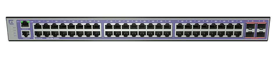 Коммутатор Extreme 220-Series 48 port 10/100/1000BASE-T PoE+, 4 10GbE unpopulated SFP+ ports (2 LRM Capable), 1 Fixed AC PSU, 1 RPS port, L2 Switching with RIP and Static Routes, 1 country-specific power cord