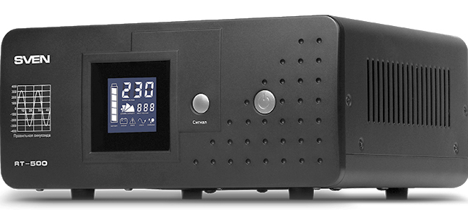 UPS SVEN RT-500, line-interactive continuous long-time backup, automatic voltage regulator, 300W, 500VA, 1 outlets, batteries not included, 300mm × 270mm × 140mm, 5.66 kg