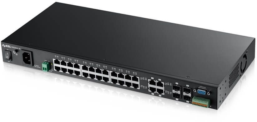 ZYXEL MGS3520-28 28-port Managed Metro Gigabit Switch with 4 of 28 RJ-45 connectors shared with SFP slots