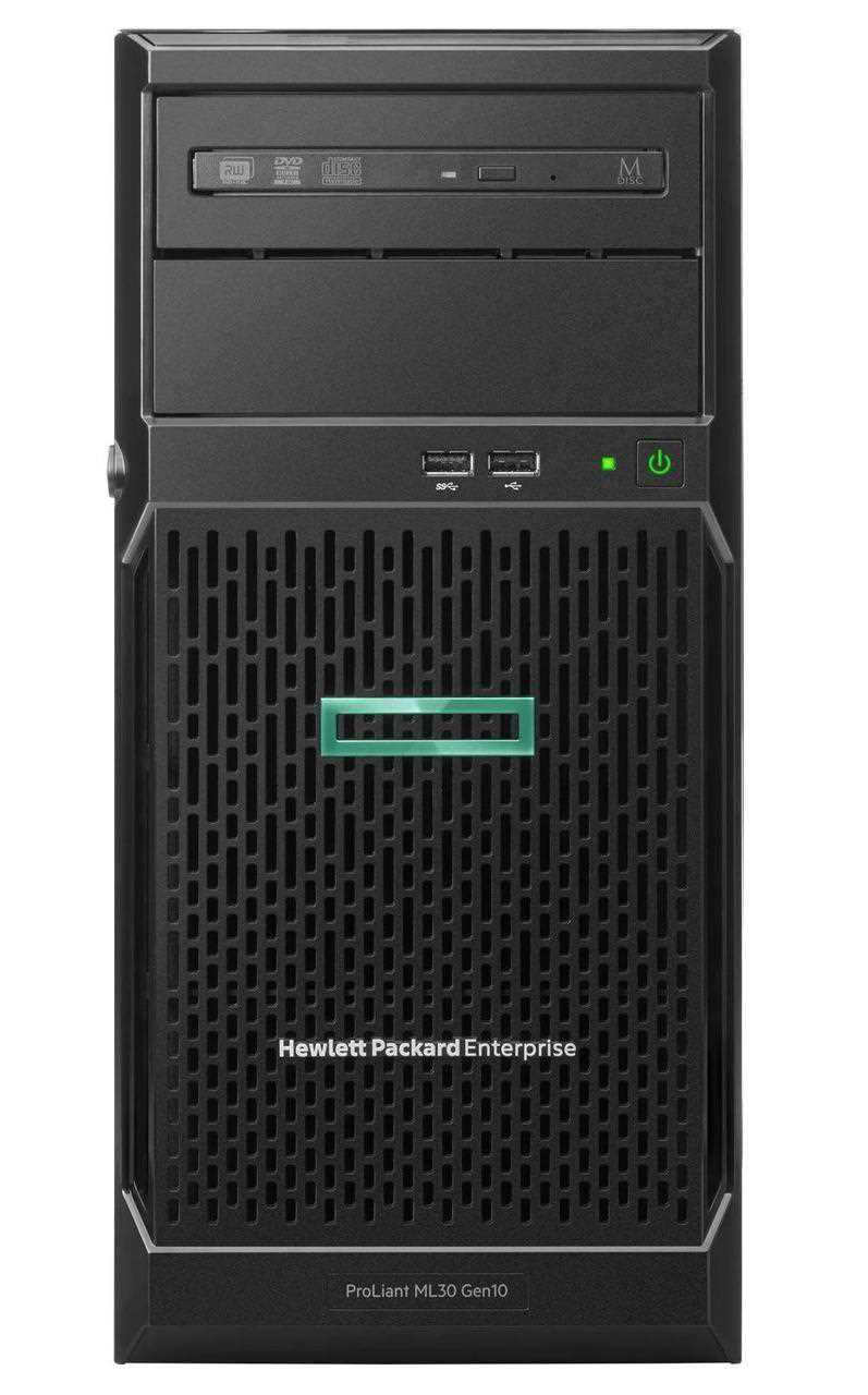 Сервер HPE ML30 Gen10, 1x Intel Xeon E-2224 4C 3.4GHz, 1x8GB-U DDR4, S100i/ZM (RAID 0,1,5,10) noHDD (4/6 LFF 3.5'' NHP), 1x350W NHP NonRPS (up2x500), 2x1Gb/s, noDVD, iLO5, Tower-4U, 3-1-1