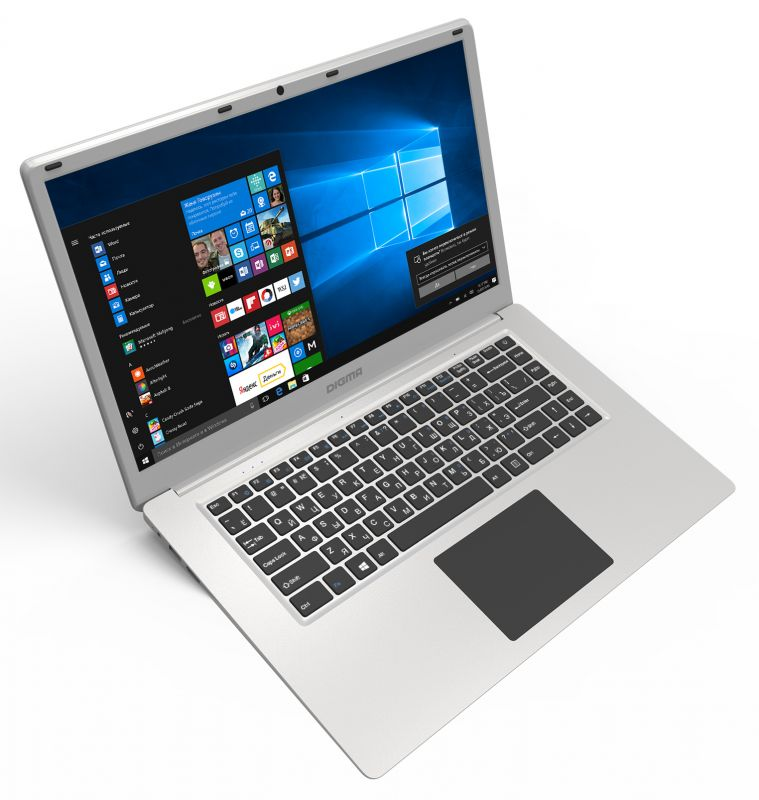 "Ноутбук Digma EVE 605 Atom X5 Z8350/4Gb/SSD32Gb+32Gb/Intel HD Graphics 400/15.6""/IPS/FHD (1920x1080)/Windows 10 Home Multi Language 64/silver/WiFi/BT/Cam/10000mAh"