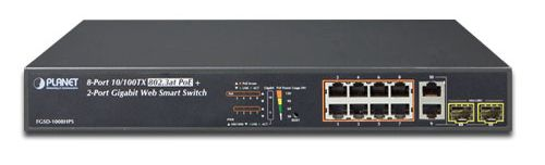 8-Port 10/100TX 802.3at High Power POE +  2-Port Gigabit TP/SFP Combo Managed Ethernet Switch (120W)