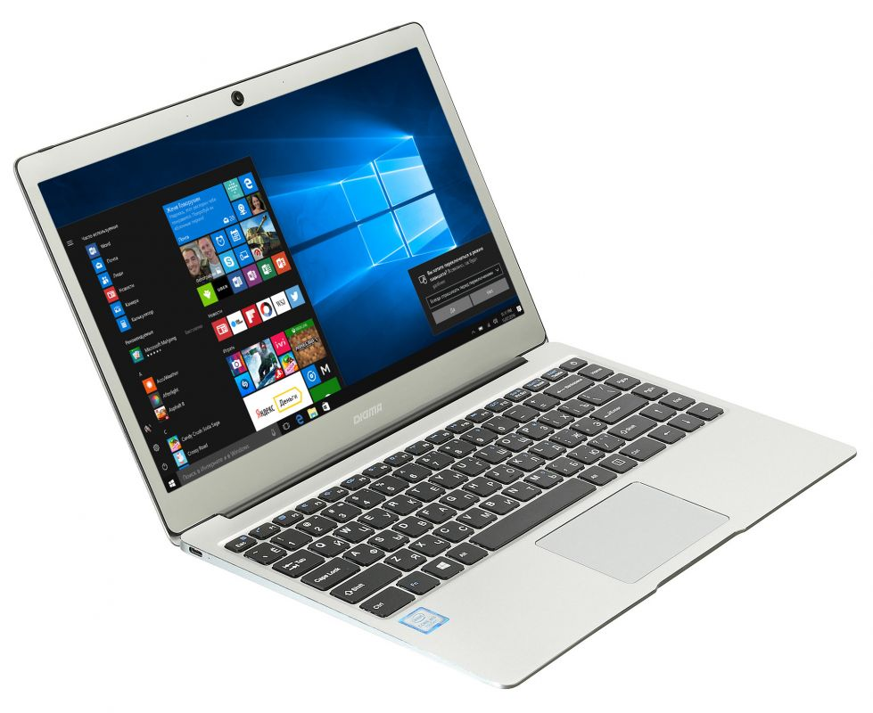"Ноутбук Digma CITI E302 Core M3 7Y30/4Gb/SSD64Gb/Intel HD Graphics 615/13.3""/IPS/FHD (1920x1080)/Windows 10 Home 64/silver/WiFi/BT/Cam/4600mAh"