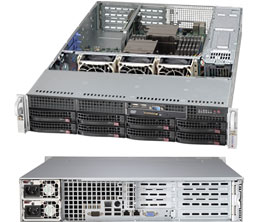 2U, 13.68''x13'', 8x3.5'' hot-swap SAS/SATA with SES2 + internal 2x3.5'', 4xFH/FL, 3xLP, 437x89x648mm, redundant 500W Platinum, WIO