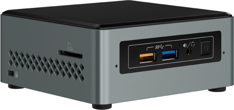 Nettop Intel NUC, Intel Celeron J3455, 2.3 GHz, DDR3 SODIMM (up to 1600MHz/8Gb), VGA Intel HD Graphics(HDMI 2.0), 2xUSB2.0, 2xUSB3.0, 1x2.5HDD, WiFi+BT, SHXC, powercord EU, 950804