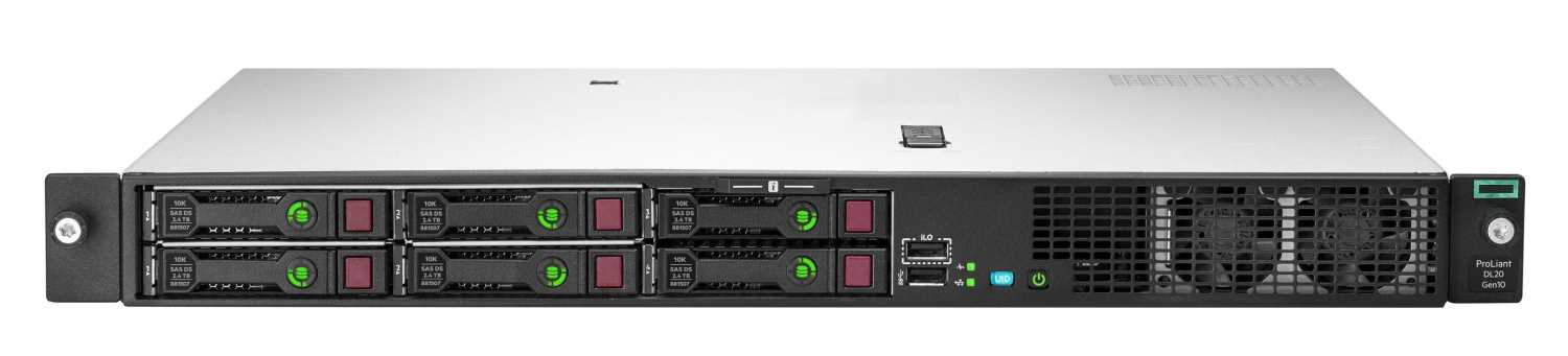 "Сервер HPE DL20 Gen10, 1x Intel Xeon E-2236 6C 3.4GHz, 1x16GB-U DDR4, S100i/ZM (RAID 0,1,5,10) noHDD (4/6 SFF 2.5"" HP), 1x500W (up2), 2x1Gb/s, noDVD, iLO5, Rack1U, 3-3-3"