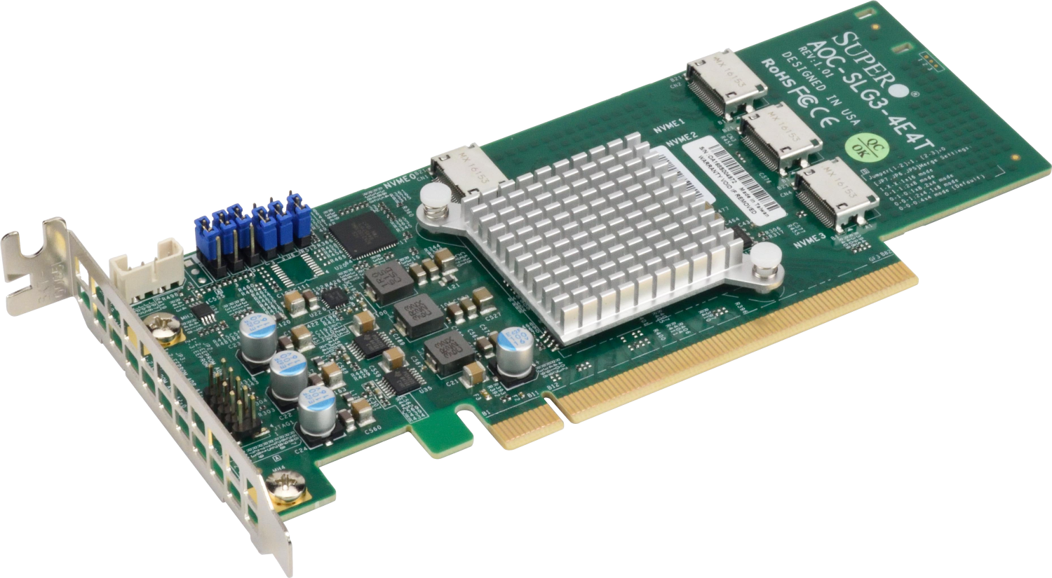 Плата коммуникационная SuperMicro Quad port OCuLink retimer NVMe SSD add-on card for PCIe3 x16 slot