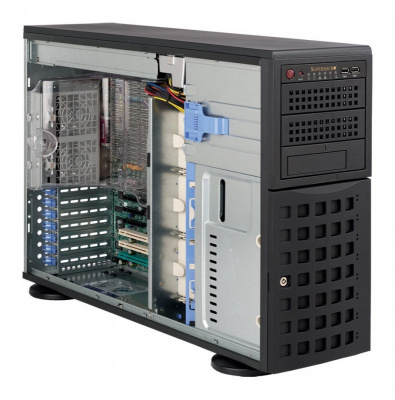 4U/Tower, 13.68''x13'', 3x5.25'', 8x3.5'' hot-swap SAS/SATA with SES2, 7xFH, 437x178x648mm, front 2xUSB, 1xfloppy bay, redundant 800W