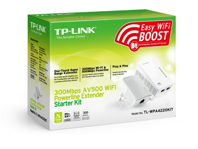 300Mbps Wireless AV600 Powerline Extender Twin Pack (with a TL-PA4010), 600Mbps Powerline Datarate, 2 Fast Ethernet ports